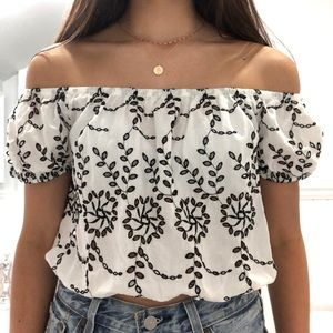 NWT Eyelet Off the Shoulder Top